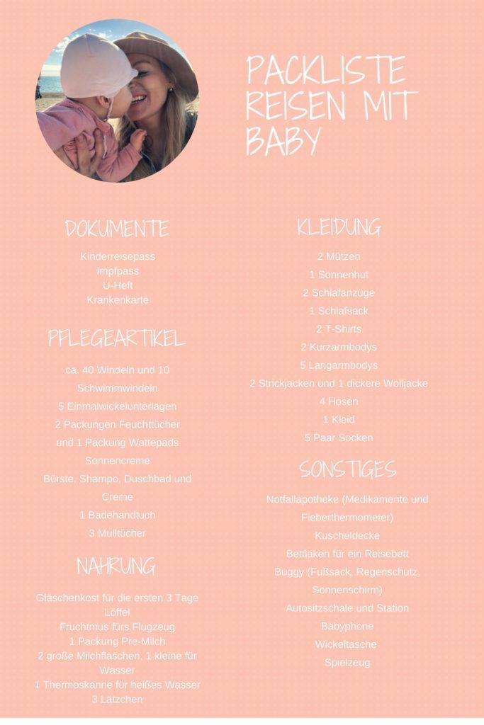 Reisen mit Baby Packliste