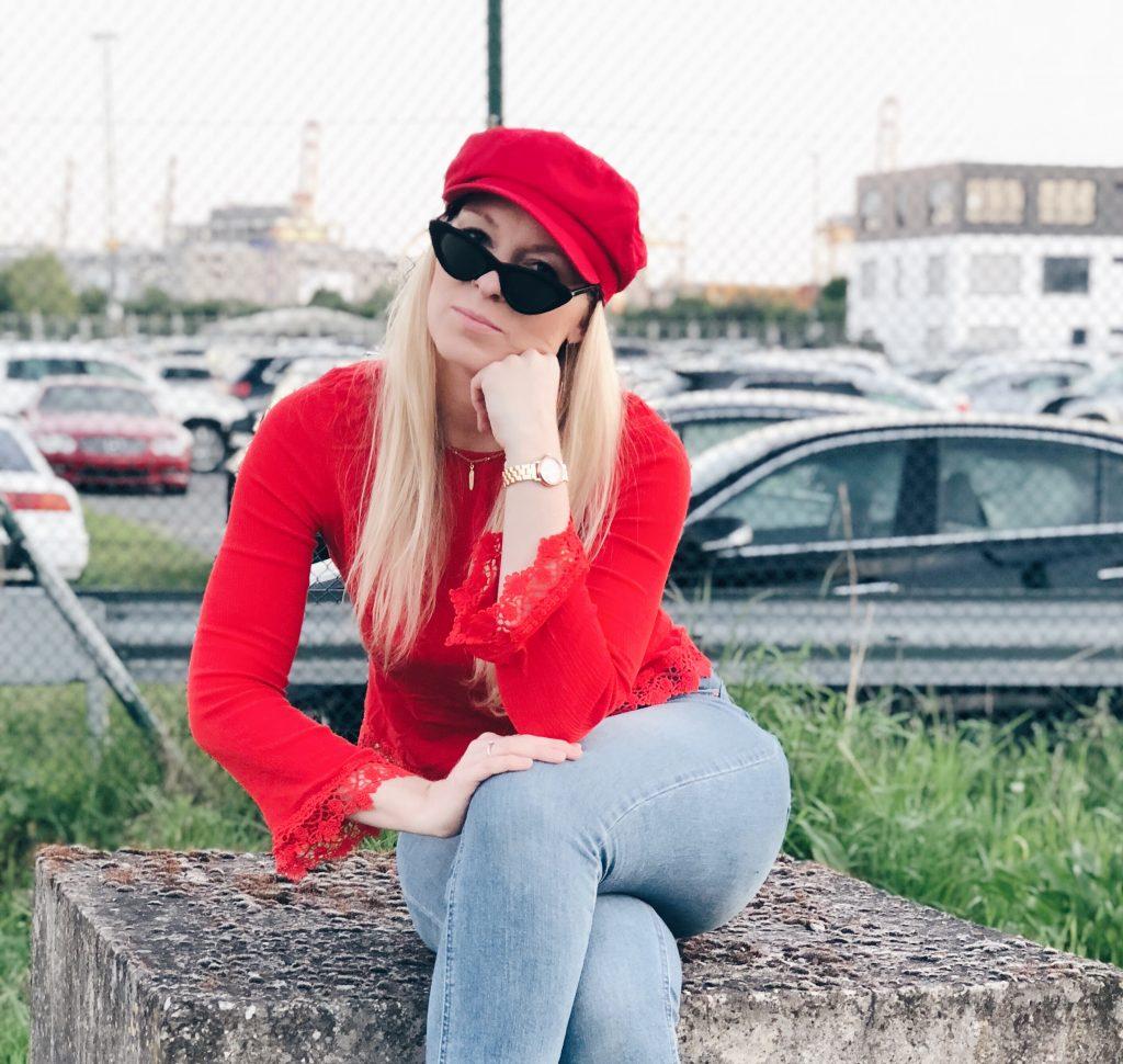 Baker-Boy-Mütze in rot